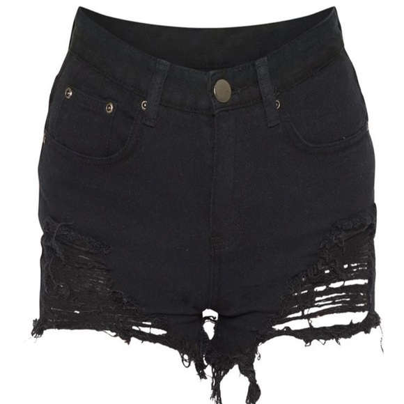 d6d38a1fb PrettyLittleThing Shorts | Jeanie Black Extreme Ripped Mom Denim ...